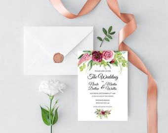 Printable Peonies and Green Hops Wedding Invitation