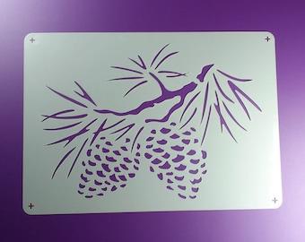 Stencil fir cone conifer fir pine spruce cone-BE07