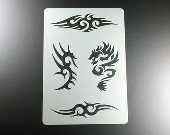 Template Dragon Tribal 4 tattoo motifs-BT08