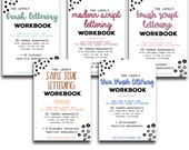 BUNDLE of 5 Lettering Workbooks with 190 Hand Lettering Practice Worksheets - Brush/Script -for Procreate & Print, Modern Calligraphy, Ipad