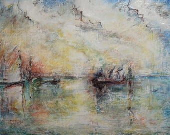 1997 Impressionist oil painting seascape signed