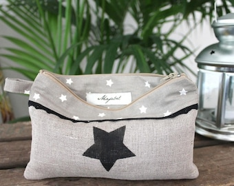 Pouch in linen and cotton handmade star