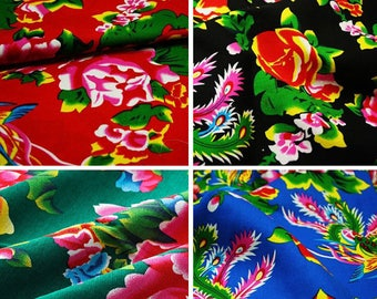 upholstery fabric blue green black red Peony cotton