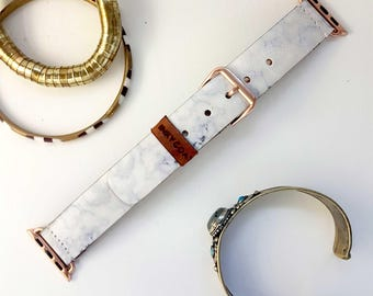 Grey Marble Leather Apple Watch Band 38mm, 42mm //  Handmade Apple Watch Strap iWatch Band iWatch Strap Wearable Tech Christmas Gift For Her