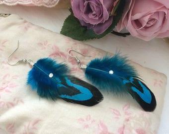 Earrings genuine pheasant feathers revered