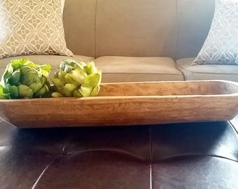 """22"""" Wooden Dough Bowl, Long Wood Bowl, Wood Dough Bowl Large, Primitive Decor, Farmhouse Table Decor"""