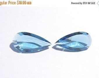 tITLE 2 Pcs Matched Pair London Blue Quartz Concave Cut Pear Shaped Loose Gemstone Size 26X12 MM