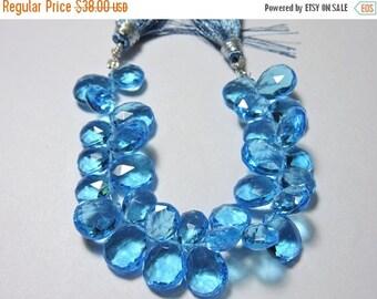 Summer Sale 26 Pcs AAA Swiss Blue Quartz Faceted Pear Briolette Size 8*7 - 12*10 MM