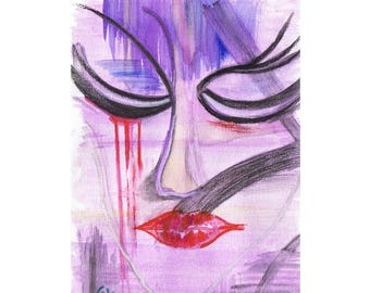 "Watercolor and pastel abstract and symbolic ""Tears"" - woman's face"