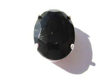 BLACK OVAL WITH CLAW 4 HOLES 18/10 MM SILVER CRYSTAL RHINESTONE