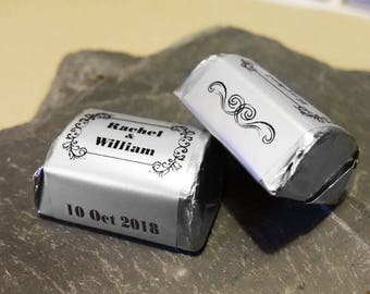 Silver Foil Personalised Wedding Candy Wrappers/stickers For Favors -Style A