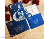 Fairytale castle two brides wedding invitation laser cut gatefold with matching laser cut RSVP card