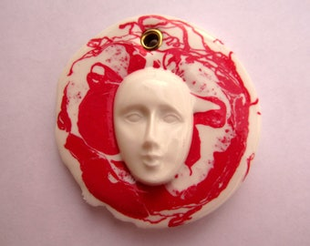 white and red silicone rubber jewellery pendant with white face, modern minimalist pendant round shape design jewelry