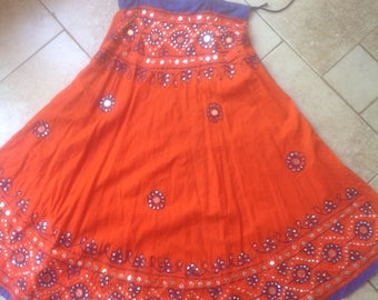 Rajasthani Handmade Skirt with Embroidery with Mirrors, Sequins, Beads