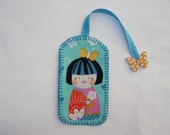 Bookmark kokeshi butterfly fabric