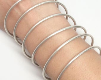 6 Solid sterling silver bangles