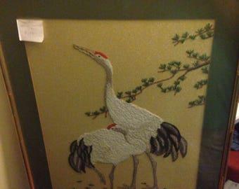 Vintage Needlework Cranes Fiber Art Piece