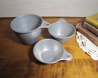Set of Three Ekco Aluminum Measuring Cups - 1 Cup, 1/2 Cup and 1/3 Cup