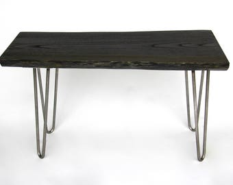Live Edge Wood Bench, Ebonized Oak with Hairpin Legs, Made in Michigan