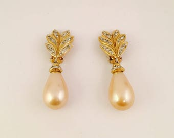 Gold Pearl Clip On Earrings