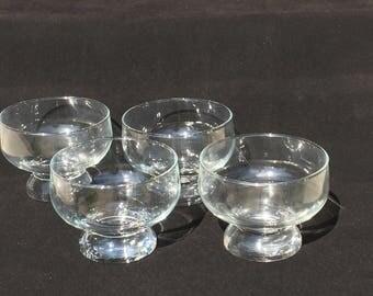 Vintage Clear Glass Dessert Ice Cream Sherbet Custard Jello Footed Dish Bowl-Set of 4