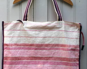 "Large bag""lane"" pink cotton with stripes, coated canvas"