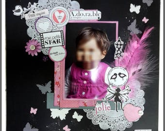 "Original: scrap Page ""Little Princess"" to be personalized with 1 photo 30cmx30cm"