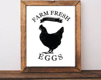 Farm Fresh Eggs Sign, Chicken Art, Chicken Home Decor, Farmhouse Sign, Farmhouse Decor, Rustic Home Decor, Farmhouse Printable Art Print