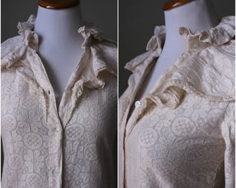 1970s/1980s Creme Lace High Neck Ruffle Blouse