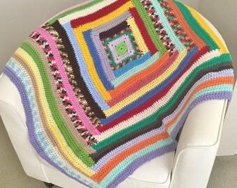 Crochet Blanket   Square Crochet Rug   Baby Blanket   Pram Blanket   Bassinet Blanket   Cot Blanket   Stroller Blanket