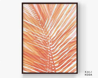 Palm Leaf Print, Watercolor, Botanical, Palm Leaves, Tropical Fronds, Coral, Greenery, Nursery, Wall Art, Printable Digital Download