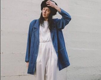 vintage denim blazer / denim jacket / womens senim coat size m / cottton coat