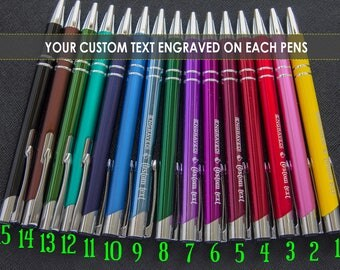 Personalized pens engraved - metal, custom laser engraved, Set of 5, 10, 15, 20  Beautiful business aluminum ball pens,