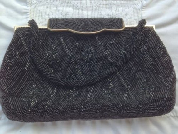 Classy Black Beaded Evening Bag
