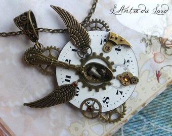 """Collier steampunk unique rouages et pièces anciennes """"Time is running"""""""