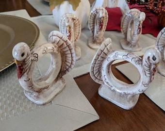 Set of Six Vintage Turkey Napkin Rings