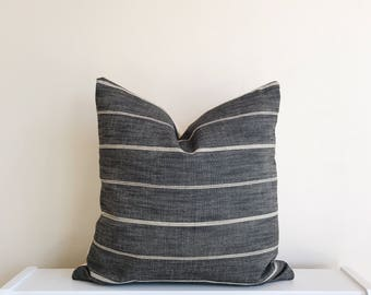 Charcoal & Cream Stripe Pillow Cover 18x18