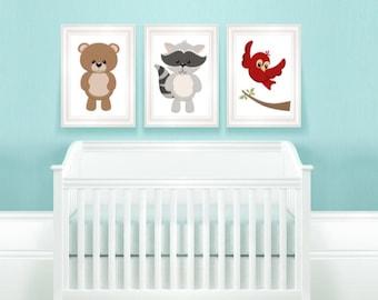 Set of 3 Woodland nursery prints - Woodland nursery decor - Woodland animal Printable - Woodland animals decor - Baby animals - Nursery art