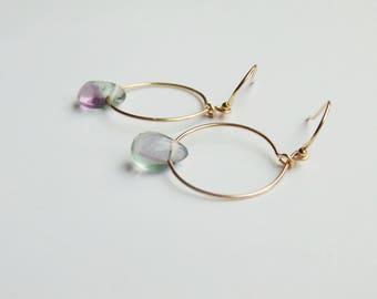 Purple green Rainbow fluorite gemstone teardrop charm 14k gold filled hoop drop dangle earrings