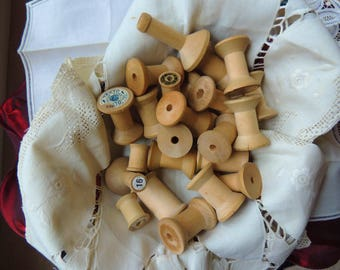 Vintage Wood Thread Spools (Lot-2)  24 Wooden Thread Spools Various Sizes