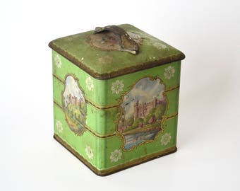 Vintage Tea Biscuit Tin Green Shabby Cottage Chic Distressed