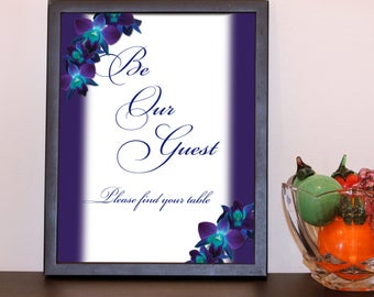 Printable Wall Art, 'Blue Orchid Be Our Guest' Sign, Digital Art, Wall Art, Wall Art Printable, Printable Decor