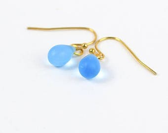 gold blue earrings gift daughter gold jewelry girlfriend earrings/for/her mom gift sister appreciation for/teacher waterdrop blue пя161