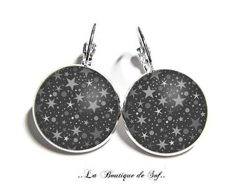 Stud Earrings with cabochon 18 mm * Star * (190217)