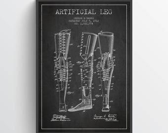 1912 Artificial Leg Patent Print, Doctors Office Decor, Doctors Office Print, Wall Art, Home Decor, Gift Idea, ME04P