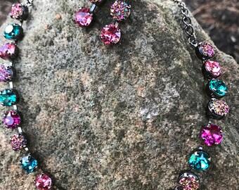 8mm swarovski necklace with druzy accents