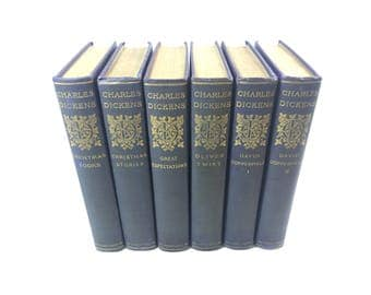 Charles Dickens Books Purple Blue Set Classic Fiction Library Christmas Stories Great Expectations Oliver Twist David Copperfield 1+2  1908