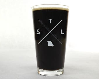 St. Louis Glass | St. Louis Pint Glass - Beer Glass - Pint Glass - Beer Glasses - Pint Glasses - Beer Mug - St. Louis Missouri