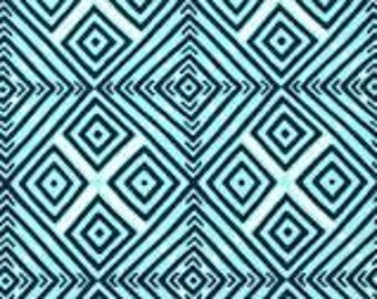 Town Center Geometric from Amy Butler's Violette for Free Spirit Fabrics in Aqua, Black and Ivory - listing for 1 Yard - FWM