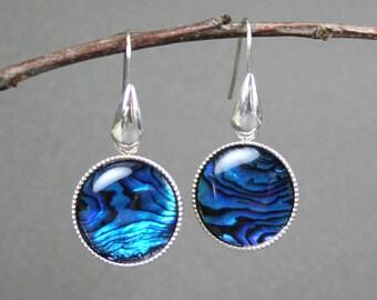 Blue paua shell circles in silver plated bezel drop earrings
